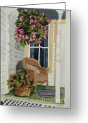 Wicker Chair Greeting Cards - Country Porch Greeting Card by Charlotte Blanchard