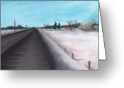 House Pastels Greeting Cards - Country Road Greeting Card by Anastasiya Malakhova