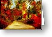 Country Dirt Roads Painting Greeting Cards - Country Roads Greeting Card by Phil Burton