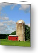 Silo Greeting Cards - Country Silo Greeting Card by Karol  Livote