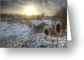 Sun Framed Prints Greeting Cards - Country Snow And Sunrise Greeting Card by Yhun Suarez