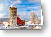 Red Barns Greeting Cards - Country Snow Greeting Card by Bill  Wakeley