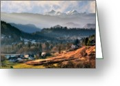 Religious Building Greeting Cards - Countryside. Slovenia Greeting Card by Juan Carlos Ferro Duque