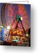 Convention Photography Atlanta Greeting Cards - County Fair Ferris Wheel 2 Greeting Card by Corky Willis Atlanta Photography