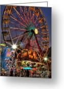 Convention Photography Atlanta Greeting Cards - County Fair Ferris Wheel Greeting Card by Corky Willis Atlanta Photography