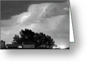Lightning Bolt Pictures Greeting Cards - County Line Northern Colorado Lightning Storm BW Pano Greeting Card by James Bo Insogna