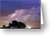 Lightning Bolt Pictures Greeting Cards - County Line Northern Colorado Lightning Storm Cropped Greeting Card by James Bo Insogna