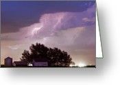 Lightning Bolt Pictures Greeting Cards - County Line Northern Colorado Lightning Storm Panorama Greeting Card by James Bo Insogna