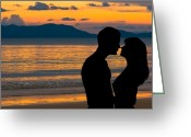 Sweetheart Greeting Cards - Couple in love at sunset Greeting Card by Ulrich Schade