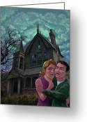 Monster Greeting Cards - Couple Outside Haunted House Greeting Card by Martin Davey