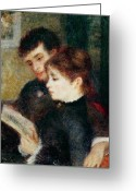 Books Greeting Cards - Couple Reading Greeting Card by Pierre Auguste Renoir