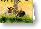 Melly Terpening Greeting Cards - Couple Texas Longhorn Greeting Card by Melly Terpening