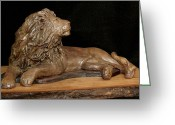 Animal Sculpture Sculpture Greeting Cards - Courage Greeting Card by Wayne Headley