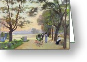 Pram Greeting Cards - Cours la Reine Paris Greeting Card by Jules Ernest Renoux