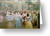 Couples Painting Greeting Cards - Court Ball at the Hofburg Greeting Card by Wilhelm Gause