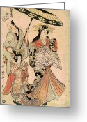 Hair Ornaments Greeting Cards - Courtesan Yosoi of Matsubaya Greeting Card by Padre Art