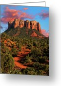 Desert Southwest Greeting Cards - Courthouse Rock Vortex Greeting Card by Jeffrey Campbell
