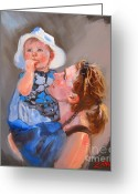 Baby Girl Greeting Cards - Courtneys Love Greeting Card by Laura Lee Zanghetti