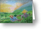 Saigon De Manila Greeting Cards - Courtship at the tea-farm Greeting Card by SAIGON De Manila