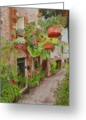 Hanging Baskets Greeting Cards - Courtyard Greeting Card by C Wilton Simmons Jr