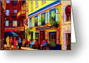 Montreal Summer Scenes Greeting Cards - Courtyard Cafes Greeting Card by Carole Spandau