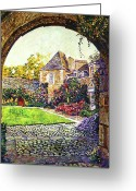 Archways Greeting Cards - Courtyard Impressions Provence Greeting Card by David Lloyd Glover