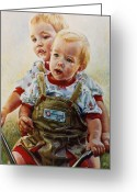 Outdoors Pastels Greeting Cards - Cousins Greeting Card by Jean Hildebrant