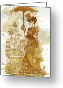 Steampunk Greeting Cards - Couture Greeting Card by Brian Kesinger