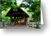 Riverwalk Greeting Cards - Covered Bridge - 1 Greeting Card by Ely Arsha