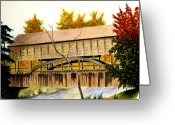 Covered Bridge Painting Greeting Cards - Covered Bridge - Mill Creek Park Greeting Card by Michael Vigliotti