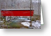 Fairmount Park Greeting Cards - Covered Bridge Along the Wissahickon Creek Greeting Card by Bill Cannon