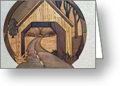 Country Sculpture Greeting Cards - Covered Bridge Greeting Card by Bill Fugerer