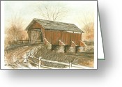 Covered Bridge Painting Greeting Cards - Covered Bridge Greeting Card by Charles Roy Smith