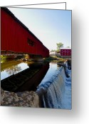 Indiana Autumn Greeting Cards - Covered Bridge Festival Greeting Card by Brittany H