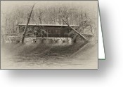 Winter Road Greeting Cards - Covered Bridge in Black and White Greeting Card by Bill Cannon