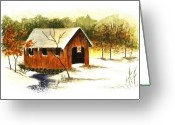 Covered Bridge Painting Greeting Cards - Covered Bridge in the Snow Greeting Card by Michael Vigliotti