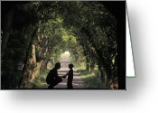Rural Road Greeting Cards - Covered Bridge Silhouettes In Mount Greeting Card by Richard Nowitz