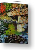 Covered Bridge Painting Greeting Cards - Covered Bridge Greeting Card by Suni Roveto