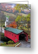 Autumn Scenes Greeting Cards - Covered Bridge-West Arlington Vermont Greeting Card by Thomas Schoeller
