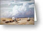 Migration Greeting Cards - Covered Wagons Heading West Greeting Card by Newell Convers Wyeth