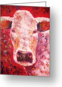 Red Pastels Greeting Cards - Cow Greeting Card by Anastasis  Anastasi