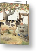 Tree Drawings Greeting Cards - Cow and Well Greeting Card by Kestutis Kasparavicius