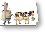 Water Drawings Greeting Cards - Cow and Well02 Greeting Card by Kestutis Kasparavicius