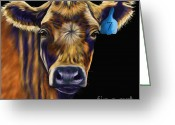 Cow Greeting Cards - Cow Art - Lucky Number Seven Greeting Card by Michelle Wrighton