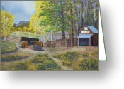 Feeding Pastels Greeting Cards - Cow Camp Greeting Card by James Geddes