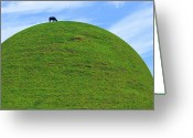 Sky Mixed Media Greeting Cards - Cow Eating On Round Top Hill Greeting Card by Mike McGlothlen