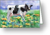 Cattle Greeting Cards - Cow In The Meadow Greeting Card by Arline Wagner