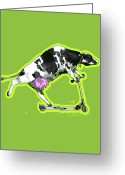 Bizarre Digital Art Greeting Cards - Cow On Push Scooter Greeting Card by New Vision Technologies Inc
