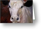 Charolais Greeting Cards - Cow Painting of Charlene Greeting Card by Cheri Wollenberg