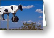 Cow Greeting Cards - Cow Power Greeting Card by Skip Hunt
